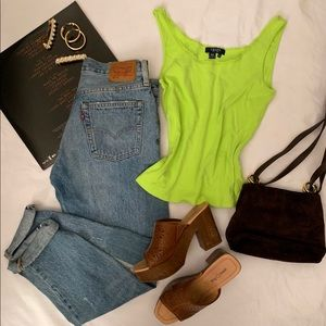 Chaps neon green baby tank